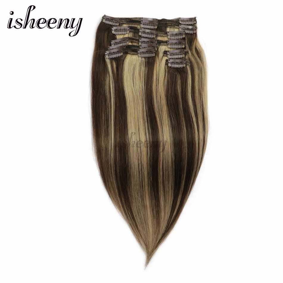 Isheeny Remy Clip in  Human Hair Extensions Piano Blonde Color 4# 27# Double Weft Brazilian Hair Clip ins Full Head Set