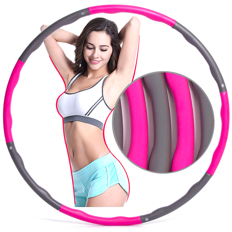 6/7/8 Section Fitness Sport Hoop Removable Foam Hoop Adult Gymnastic Hoop Gym Body Building Thin Waist Fitness Circle Equipment