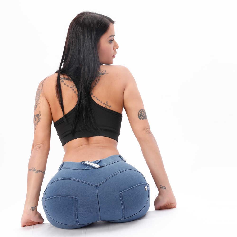 Melody luz azul Mediados de cintura Denim Jeggings mujer cómodo Stretch Skinny Jeans para mujeres Super cómodo Push Up Vaqueros