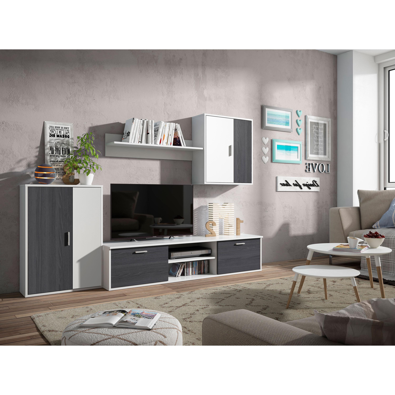 Mueble De Salón Completo, Color Blanco Y Gris Ceniza, Muebles De TV, Apilables Económicos Ref-04