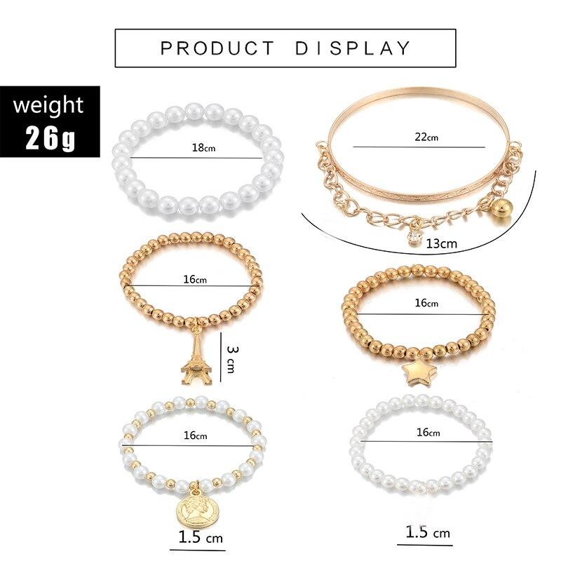 Tocona 6 pz/set moda Color oro perline perla stella multistrato perline bracciali Set per le donne fascino regalo dei monili del partito 5483 2
