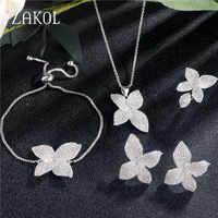 ZAKOL luxe AAA cubique Zircon Micro pavé fleur boucles d'oreilles anneau Bracelet collier ensemble pour les femmes Anneaux de mariage bijoux FSSP3077