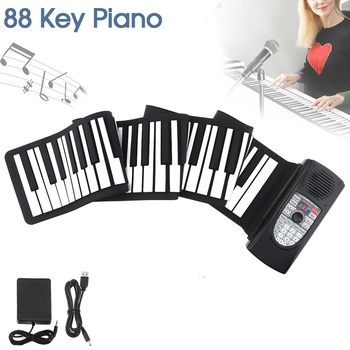 88 Keys MIDI Roll Up Piano Rechargeable Electronic Portable Silicone Flexible Keyboard Organ Built-in Speaker Support Bluetooth