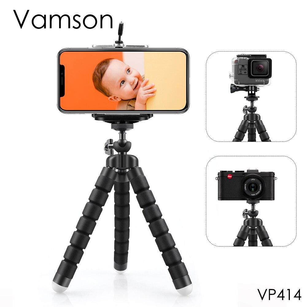 Vamson ยืดหยุ่นฟองน้ำ Octopus Mini ขาตั้งกล้องสำหรับ iPhone Samsung Xiaomi Huawei สมาร์ทโฟนขาตั้งกล้องโทรศัพท์มือถือผู้ถือคลิปสำหรับ GoPro hero 7 6 5 4 3 + 2 1 สำหรับ Xiaomi yi 4k VP414-ใน ขาตั้งกล้องถ่ายทอดสด จาก อุปกรณ์อิเล็กทรอนิกส์ บน title=