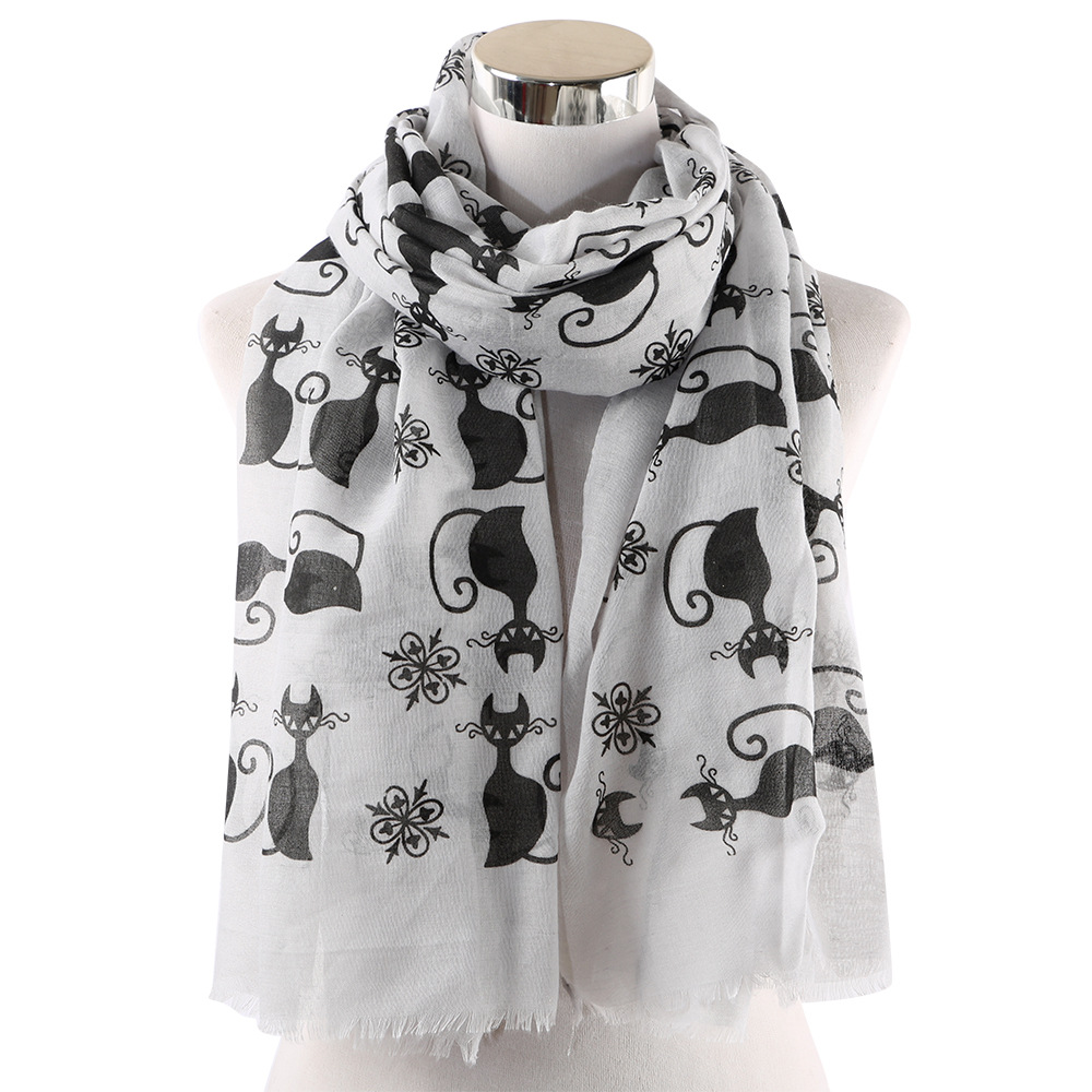 Cute Cat Print Animal Scarves Women Ladies White Pink Hijab Viscose Shawls And Wraps Female 2019 Fashion