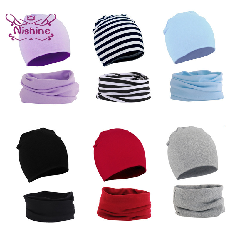 Nishine Fashion Soft Toddler Hat and Scarf Set Solid Color Kid Head Cover Spring and Autumn Infant Warm Cotton Cap Birthday Gift