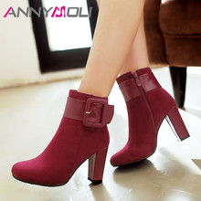 ANNYMOLI Autumn Ankle Boots Women Buckle Chunky High Heels Short Boots Zipper Square Toe Shoes Lady Winter Green Plus Size 33-43 цены онлайн