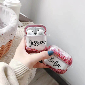 Image 5 - Air pod Case Customized Name Personalized Airpods Blue Glitter Case Personalized Gift Airpod case Cute Air pod bling case cover