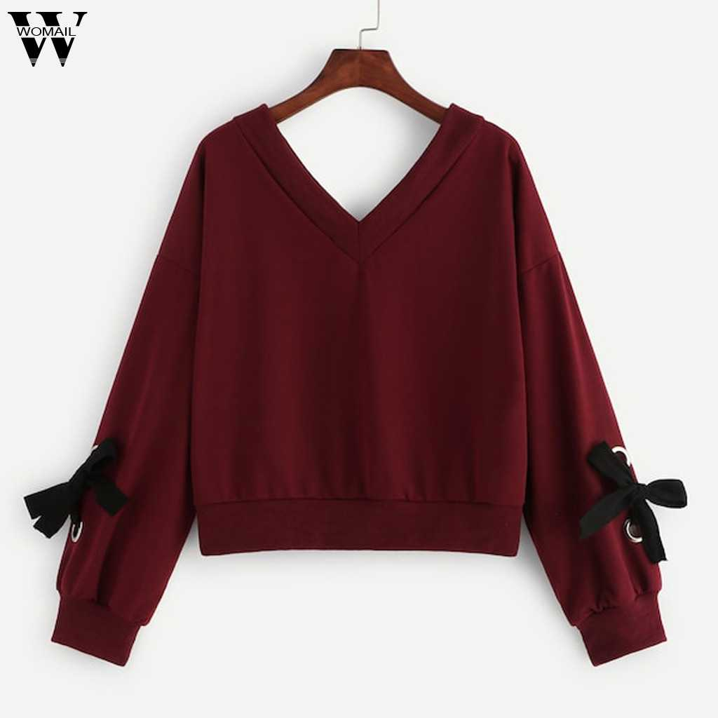 Womail Sweatshirts frauen Gestrickte V-ausschnitt Fliege Pullover Herbst Casual Langarm Patchwork Frauen Sweatshirts Sudadera S-XL