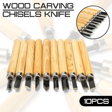 10pcs lot Wood Carving Chisels Knife for Detailed Woodworking Gouges Hand Tools and Basic Wood Cut DIY Tools Carving Tools cheap vieruodis Round Iron-nickel Alloy other