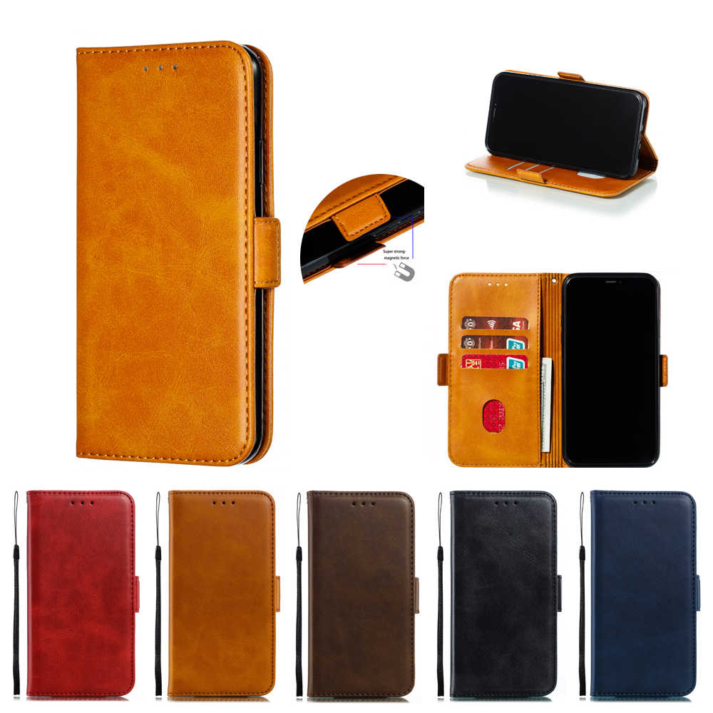 Magnetik Kulit Phone Case untuk Samsung Galaxy Note8 Note9 Note10 Pro M10 M20 M40 Case Flip Dompet Stand Cover Kasus
