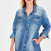 Trendyol Blue Long Basic Denim Jacket TWOAW20CE0082