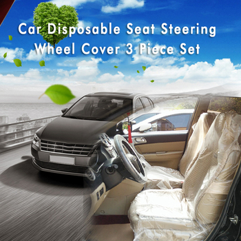 10pcs/set Universal Car Disposable PE Plastic Soft Seat Cover Steering Wheel Cover Waterproof Dust and Dirt Protective Cover New image