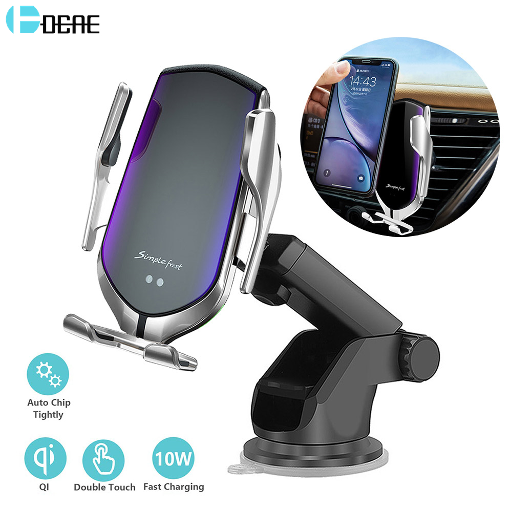 DCAE Automatic Clamping 10W <font><b>Wireless</b></font> <font><b>Car</b></font> <font><b>Charger</b></font> QI Fast Charging Phone Holder Mount for iPhone 11 Pro XS XR X 8 Samsung S10 S9 image