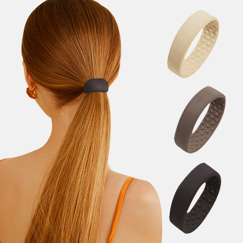 Woman Ponytail Holder Hair Tie Foldable Hair scrunchies Silicone Stationarity Elastic Hair Band Simple hair accessories