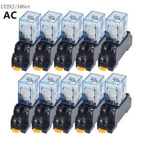 10 pces relé ly2nj ac12v 24v 36v 48v 110v 220v 380vsmall relé 10a 8 pinos bobina dpdt com base de soquete