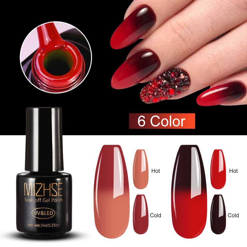 Mizhse 7 Ml Thermo Changing Gel Nail Thermische Kleurverandering Uv Gel Lak Manicure Lucky Nail Art Chameleon Nail Gel vernissen