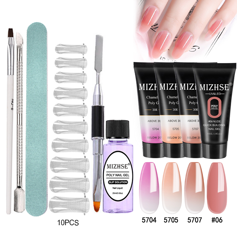 MIZHSE Crystal Jelly Gum Poly Gel Set 30ml Crystal Jelly Builder Nail Finger Extension Hard UV Gel Lacquer Manicure Tips