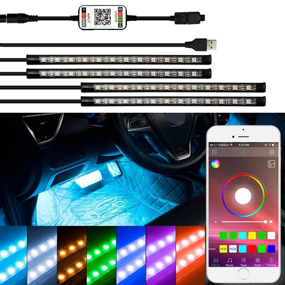 LED Strip RGB Remote Control Car Decorative Atmosphere Lamp For <font><b>Mitsubishi</b></font> Lancer 9 10 I200 Pajero 4 Sport Colt <font><b>Outlander</b></font> ASX image