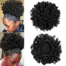 QUEEN BRAID Ponytail High Hair Puff Clip in Chignon Bun Hairpiece Afro Kinky Curly Synthetic Drawstring ponytail Hair Extensions(China)
