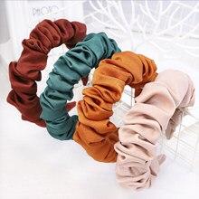 Diadema plisada de moda para mujer, bandana de personalidad, diadema Lisa fresca, accesorios para el cabello a juego para adultos