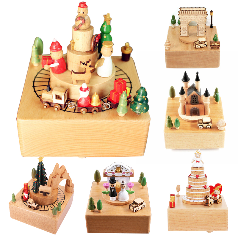 Cutebee  Zakka Carousel Musical Boxes Wooden Music Box Wood Crafts Retro Birthday Gift Vintage Home Decoration Accessories