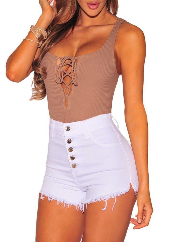 Trendy Women Summer Shorts Bottoms High Waist Denim Beach Casual Shorts Ladies Casual Beach Hot Sale