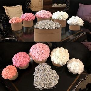 Image 1 - 10 Uds 8cm PE espuma de las flores flor de Rosa artificial ramo de novia decoración para fiesta de boda DIY arte de colección de recortes falsa flor