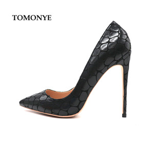 Image 1 - 2019 new style Factory wholesale black petal pointed toe perform walking show women lady hot sale 120mm block high heel autumn