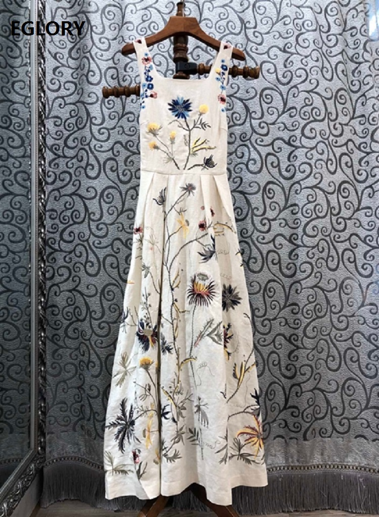Top Quality New 2020 Summer Strap Long <font><b>Dress</b></font> Women Allover Exquisite Embroidery <font><b>Sexy</b></font> Cross <font><b>Backless</b></font> Casual Linen Long Maxi <font><b>Dress</b></font> image