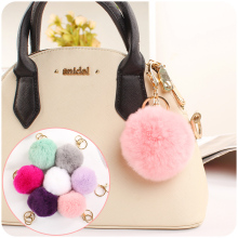 Simple Pompon Key chain Fluffy Artificial Rabbit Fur Pom Pom Keychains For Woman Car Key ring Girls Bag Jewelry Pendant Gifts