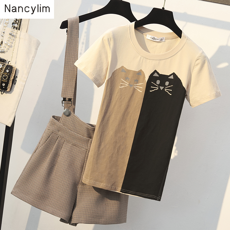 Women's Clothing Shorts-Set Size-Suit Cat-Print Two-Piece Summer Outfits T-Shirt Strap
