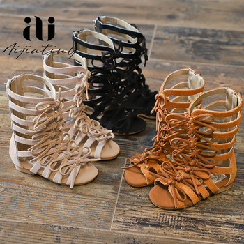 Genuine Leather toddler girls sandals summer Suede leather Roman sandal for children Bow Female Boots Kids gladiator sandals