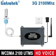 Lintratek display lcd repetidor de sinal 3g 2100mhz impulsionador do telefone móvel amplificador umts 2100mhz faixa 1 celular celular impulsionador