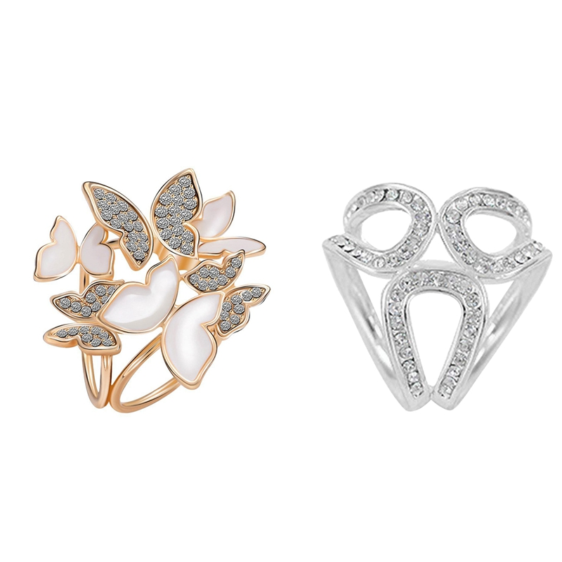 2Pcs Elegant 3 Rings Butterfly Scarf Ring Silk Scarf Buckle Clip - Gold & Silver