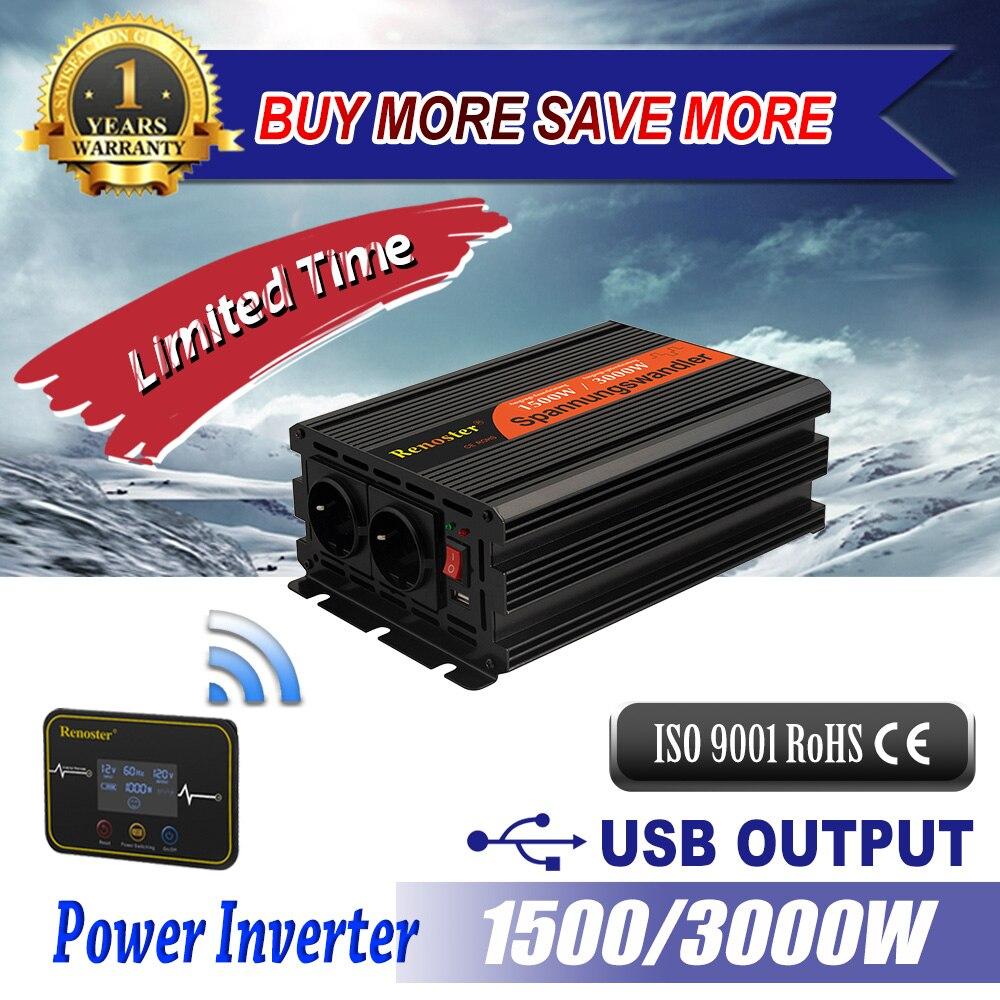 Renoster 1500/3000 ワット変更された正弦波インバーターワイヤレス dc 12v ac 220v 電源インバータキャンプ車の電源インバータ屋外