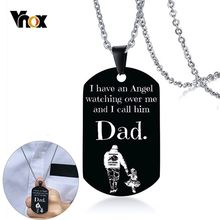 Vnox I Have an Angel Dad Dog Tag Necklaces for Men Custom DIY Engrave Black Stainless Steel Fathers Day Gifts Collar(China)