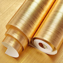 Vinyl Golden Wallpaper Roll Gold Foil Home Decoration Room Background Wall Sticker Bar Entertainment Waterproof 3d wall paper(China)