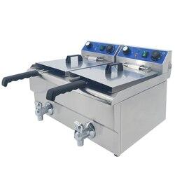 Duża 20L handlowa frytkownica elektryczna regulacja temperatury frytkownica maszyna do smażenia ze stali nierdzewnej kurczak frytki w Elektryczne frytownice od AGD na
