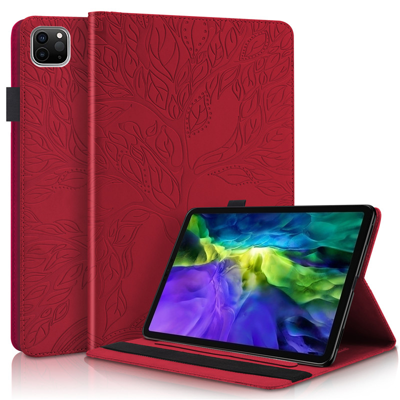 red Blue Emboss Tree PU Leather Flip Case for Funda iPad Pro 11 2020 Case Wallet Stand Tablet