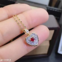 KJJEAXCMY fine jewelry natural ruby 925 sterling silver women gemstone pendant necklace chain support test trendy
