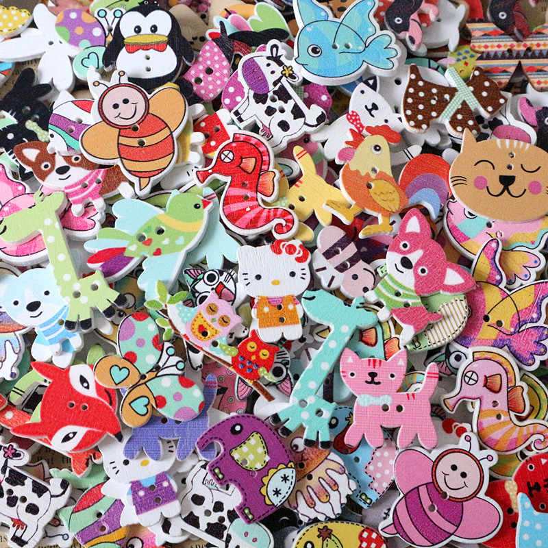 50Pcs Cute Mixed Cartoon Animal Wooden Sewing Wood Buttons Flatblck Decor Acces