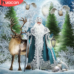 HUACAN 5D Diamond Painting Christmas Cross Stitch Santa Claus Diamond Embroidery Full Square Drill Diy Kit Deer Handicraft