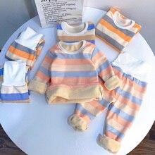 Children Sleepwear Pajamas Thermal-Underwear Fleece Baby-Boys-Girls Stripes Kids NEW