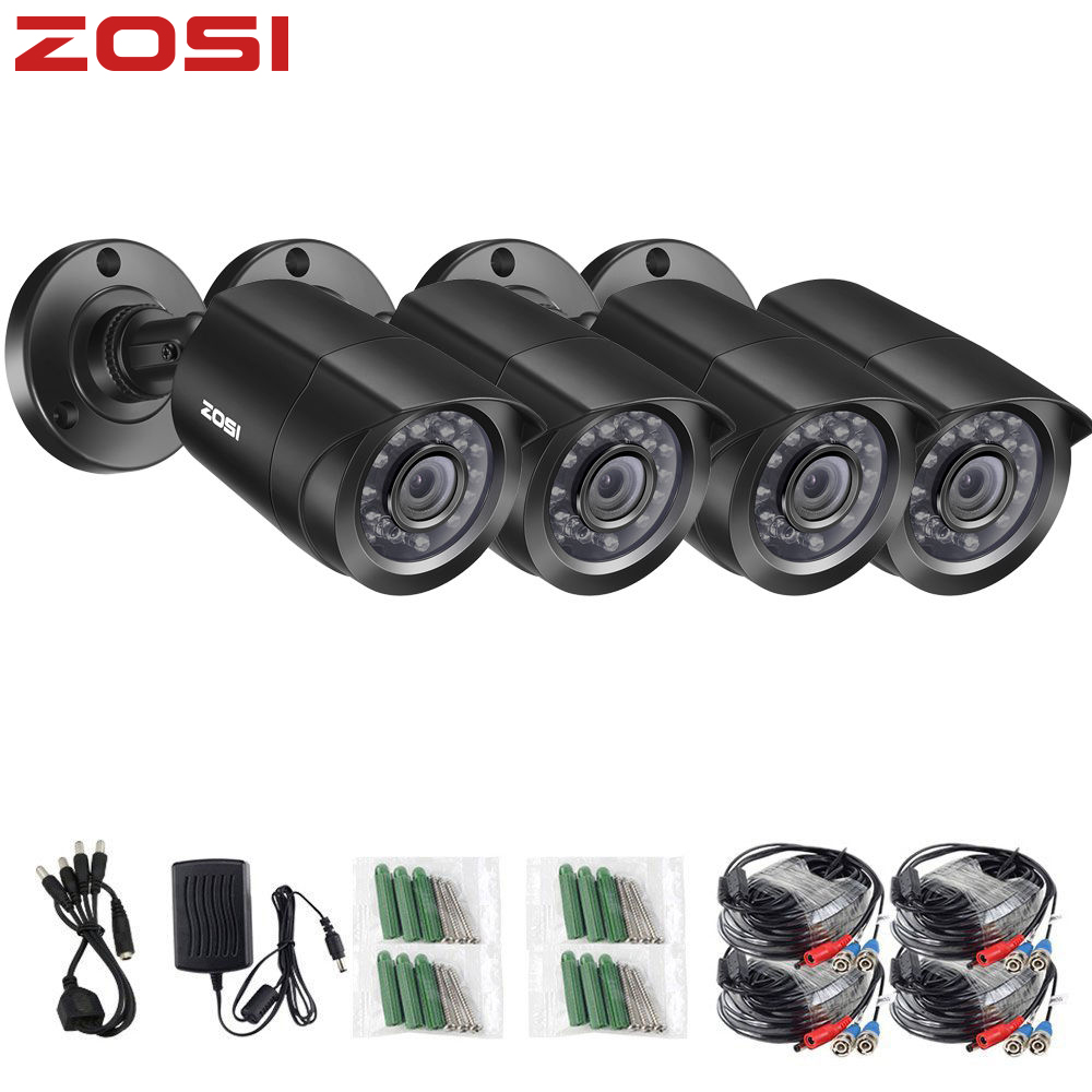 ZOSI 4 PCS Bullet 720P CCTV Video Waterproof Camera IR Nightvision 1MP Window CCTV Security Cable Cam for DVR System-in Surveillance Cameras from Security & Protection