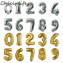 Chicinlife 1Pcs 32inch 0-9 Number Foil Balloon