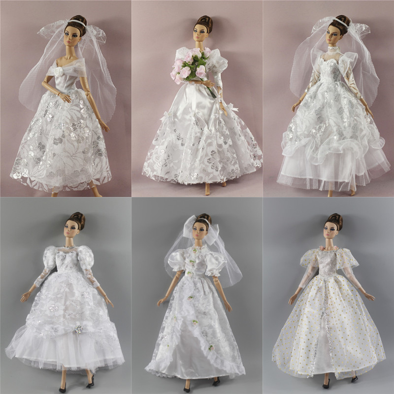 White Wedding Dress Veil Flower Bouquet, Evening Gown Clothing Outfit For 30cm Barbie FR Xinyi Doll, 1/6 Doll Clothes