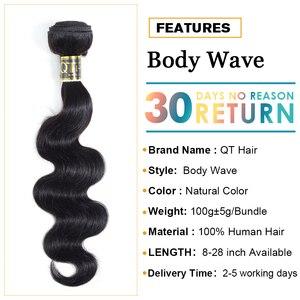 Image 4 - Indisches Haar Körper Welle Bundles 100% Menschliches Haar Bundles Webart Indische Körper Welle Remy Haar Extensions Weave 8 28 zoll QT Haar