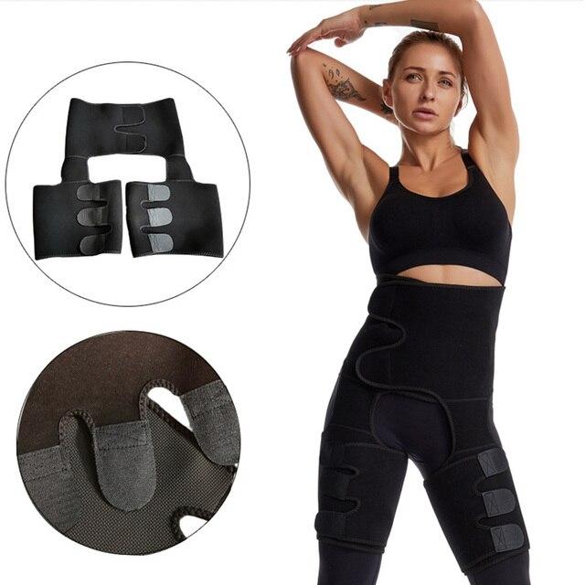3 in 1 Women Neoprene Sweat Waist Trainer Thigh Support Waist Trimmer Belt for Women Tummy Control Waist Trainer Sweat Shapewear 5