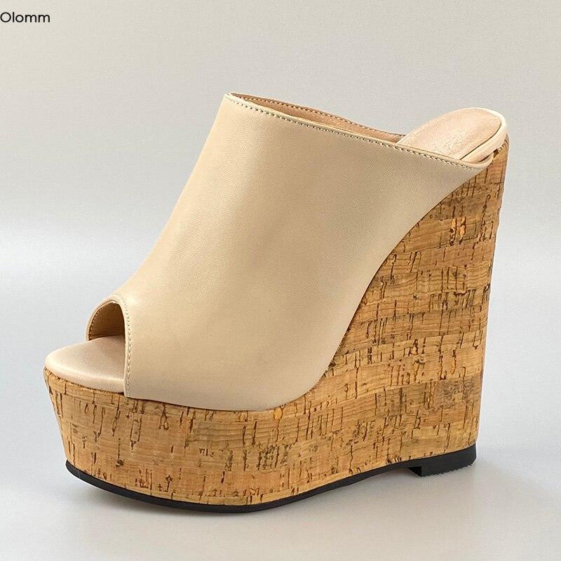 Olomm New Women Platform Mules Sandals Wedges High Heel Sandals Open Toe Gorgeous Nude White Party Shoes Women US Plus Size 5-20